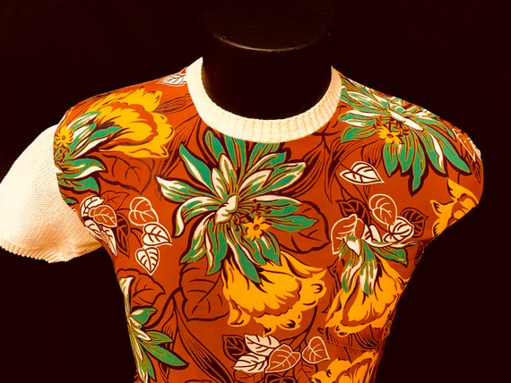 1940's Men's Rayon Hawiian Front Panelled Cotton