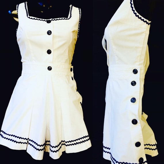 1940's Women's  White Blue trim PlaySuit by Junior
