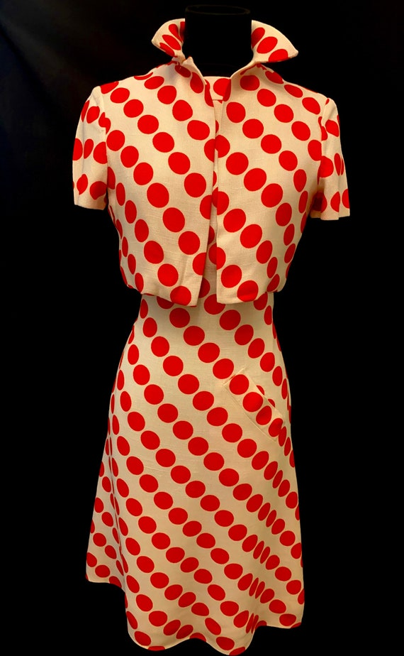 Late 50's Early 60's Red Polka Dot Heavy Moygashel