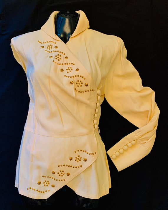1940's Cream Crepe & Gold Studded Blouse by Carl N