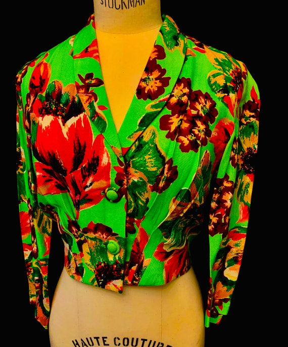 1940's Utility Double 11 Women's Floral  Moygashe… - image 7