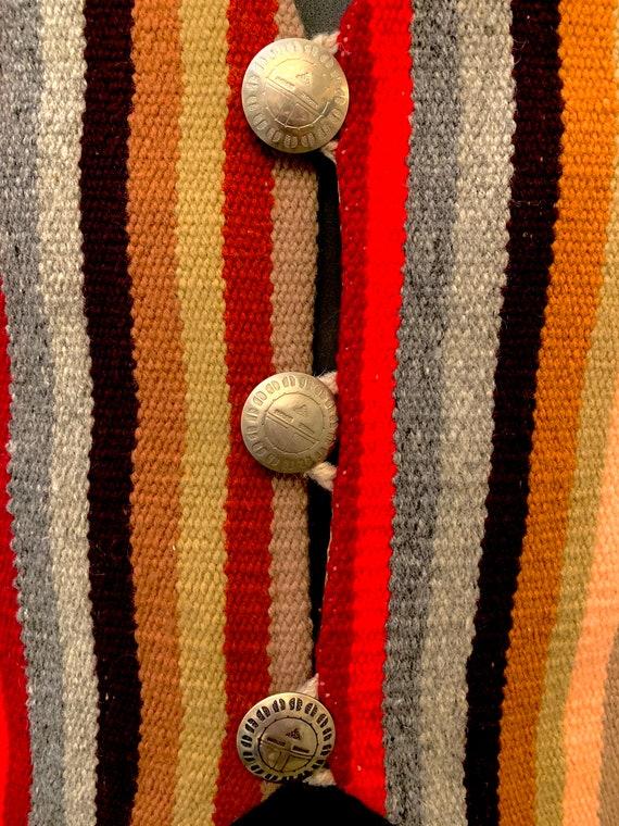 Men's 40's Striped Cropped Chimayo Waist coat (Ve… - image 3