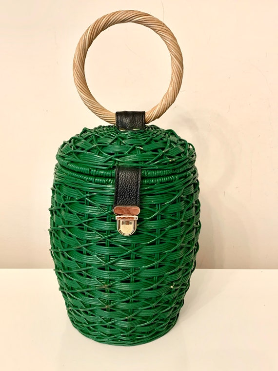 1950's Repro Wicker Barrel Bag