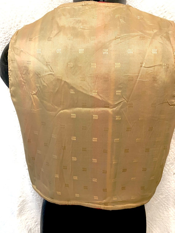 Men's 40's Striped Cropped Chimayo Waist coat (Ve… - image 6