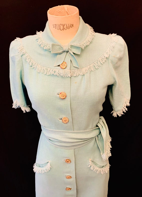 1940's Women's Turquoise Moygashel Front Buttoning