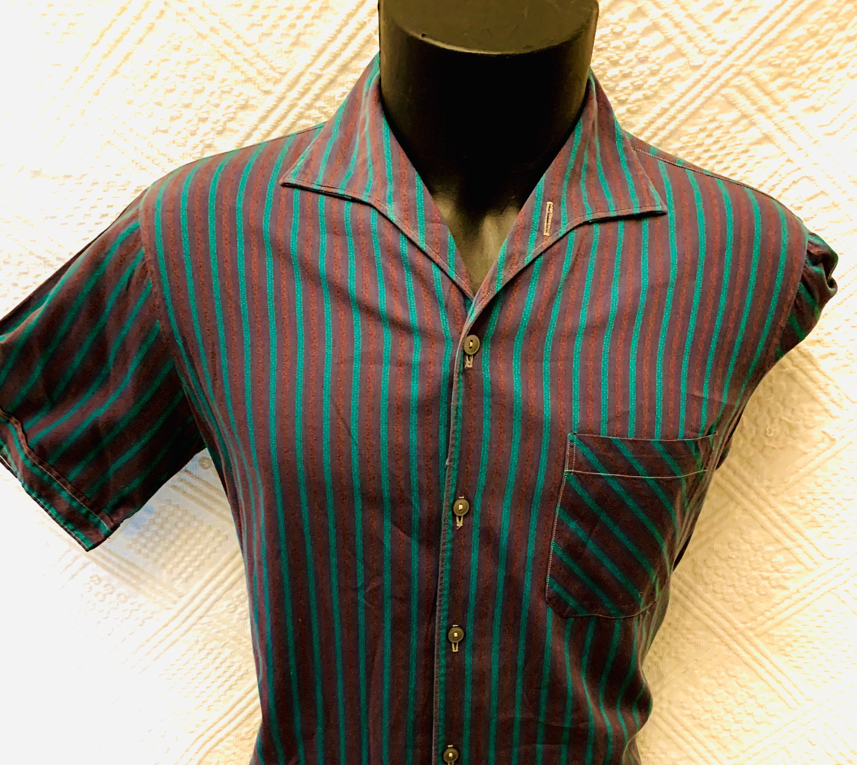 1950s Men's Ties, Bow Ties – Vintage, Skinny, Knit 1950s Mens Turquoise  Burnt Umber Striped Shirt By Spada Italy $129.53 AT vintagedancer.com