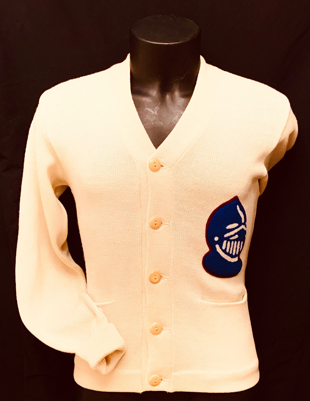1950s Men's Ties, Bow Ties – Vintage, Skinny, Knit 1950s Mens Cream Woollen LettermanVarsity Cardigan $255.36 AT vintagedancer.com
