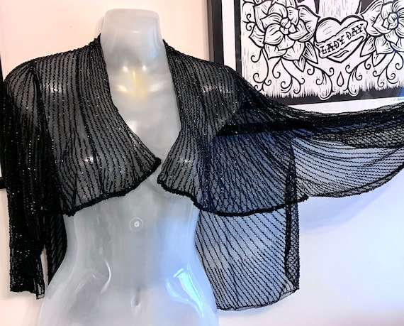 1930'S Hand beaded  Sheer Scallop edged Cocktail W