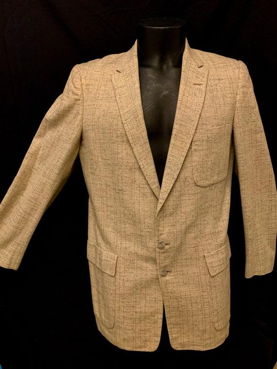 1950's Men's Cream & Black Fleck Box Jacket