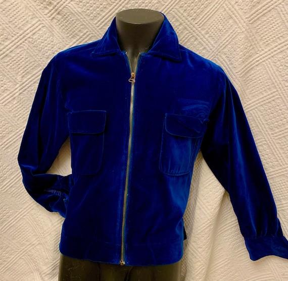 Men's 1950's Blue Velvet Cropped Jacket