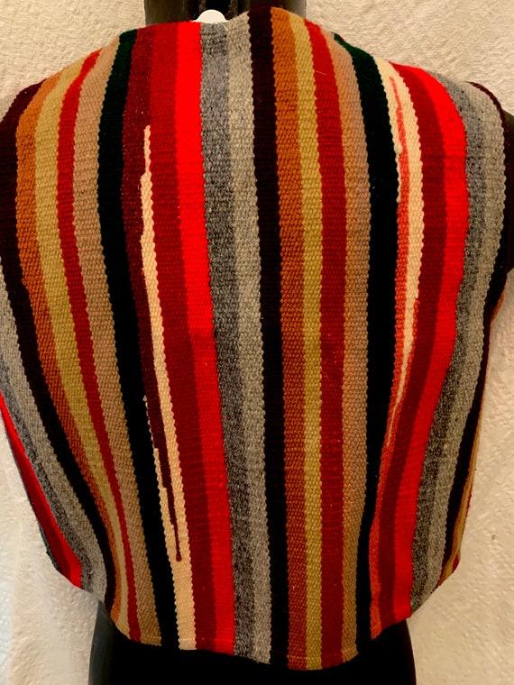 Men's 40's Striped Cropped Chimayo Waist coat (Ve… - image 5