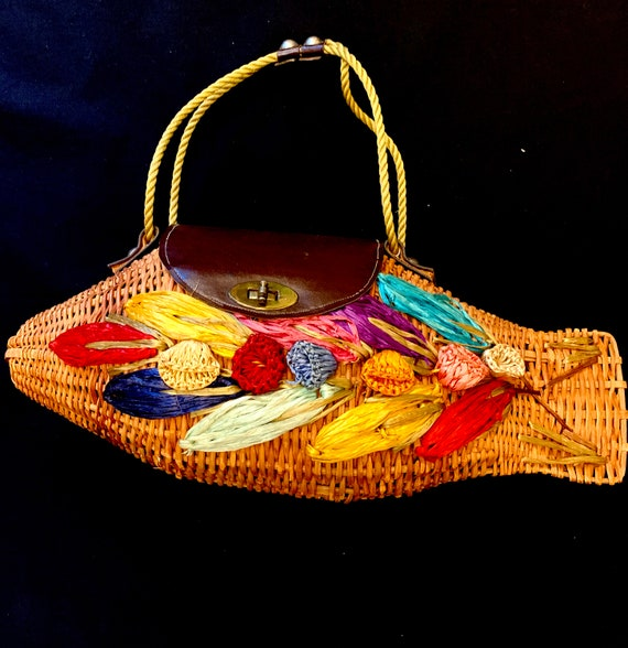 1950's Wicker Fish Resort Bag