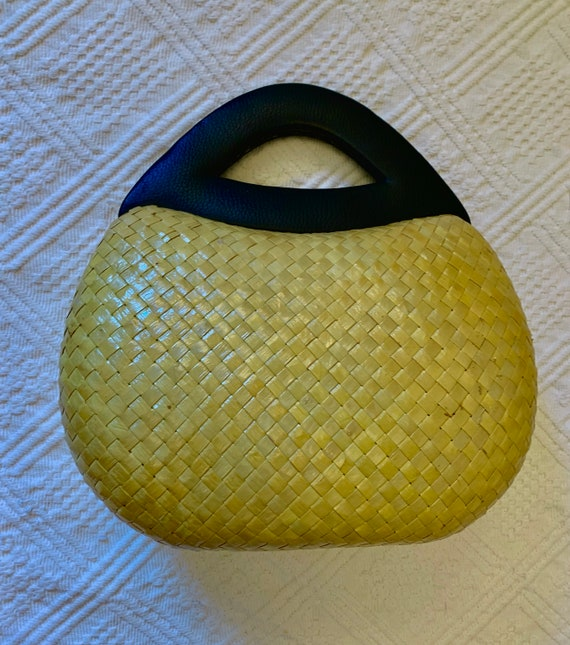 1960's Yellow and Black Varnished Raffia bag