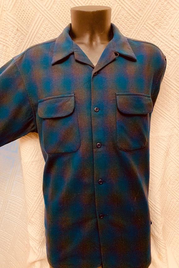 1950's Men's Teal Blue and Green Pendleton Woollen