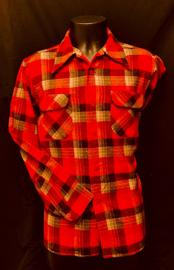Men's 1940's Red Black & Grey  Plaid Pendleton Shi