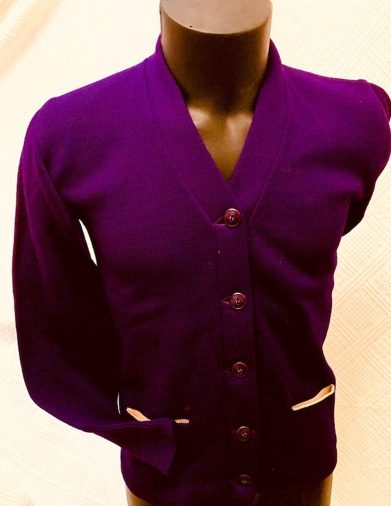 1950's Men's Purple Woollen Varsity/ College Cardi