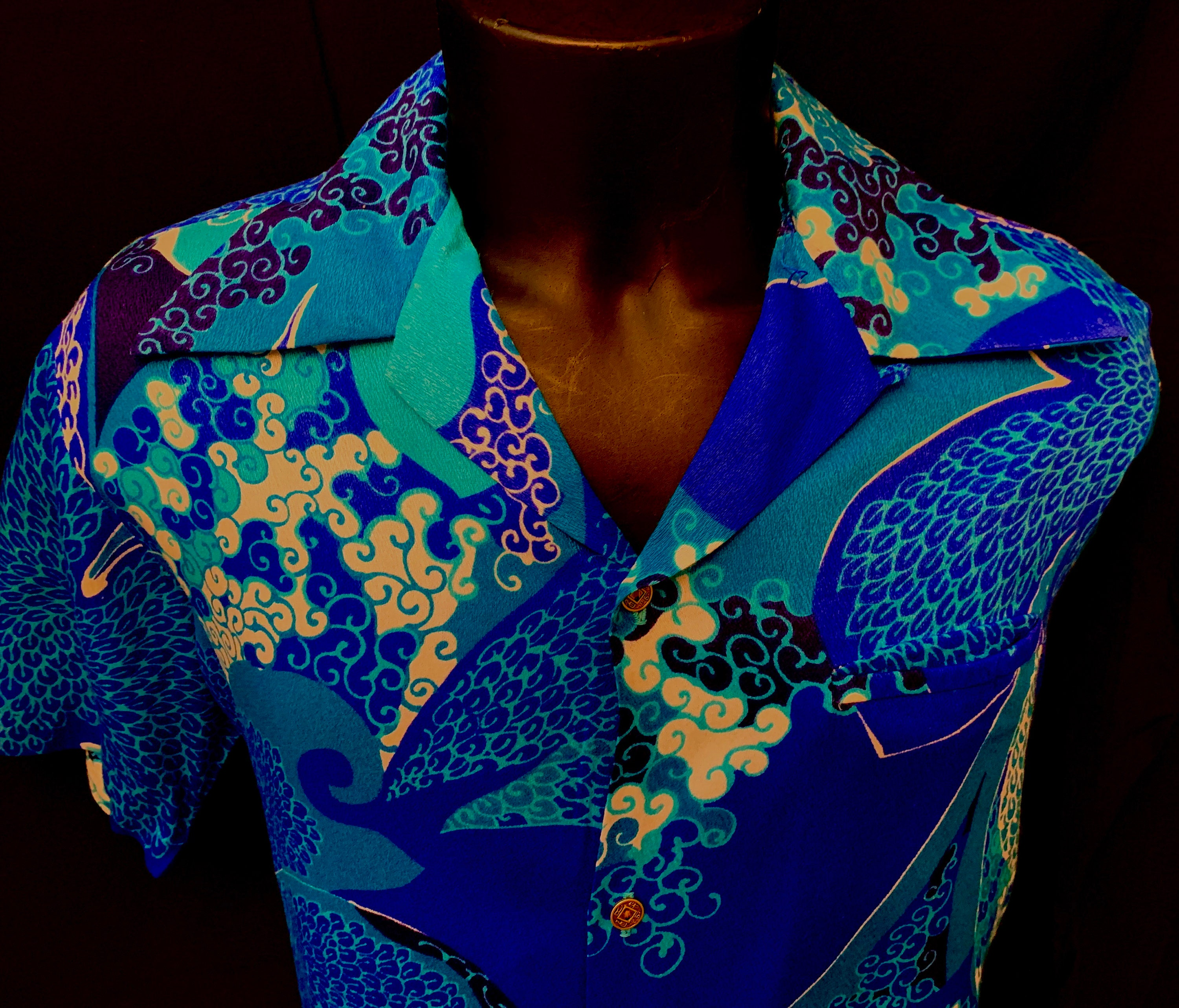 1940s Men's Shirts, Sweaters, Vests 1960s Mens Turquoise  Blue Abstract Wave Print Resort Shirt By Reef Towers Hawaii $136.67 AT vintagedancer.com