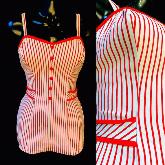 1950's Women's Catalina Candy Striped Swim Suit