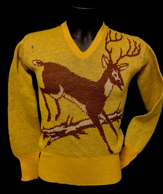 1940's Men's Catalina Stag Knitted Pullover Sweate