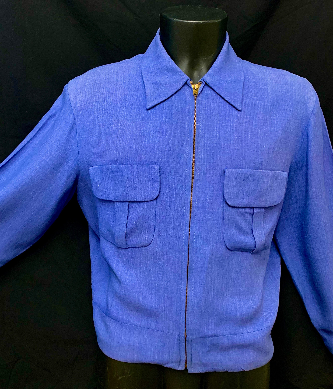 1950s Men's Ties, Bow Ties – Vintage, Skinny, Knit 1950s Mens Blue Gabardine Cropped Jacket $485.72 AT vintagedancer.com