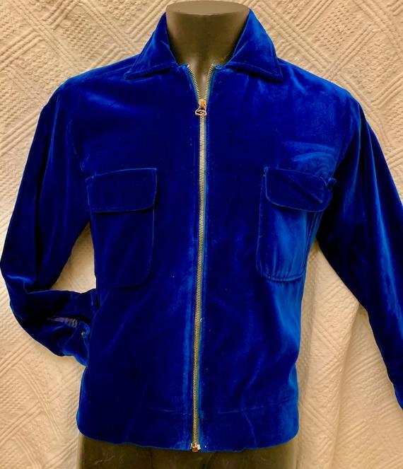 Men's 1950's Blue Velvet Cropped Jacket - image 2