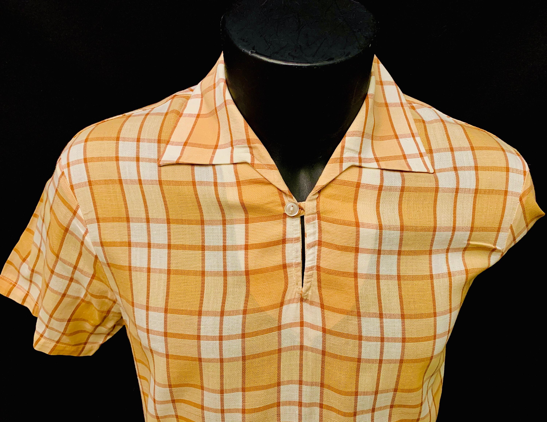1950s Men's Ties, Bow Ties – Vintage, Skinny, Knit 1950s Mens British Beige  White Check Pullover Short Sleeve Cabana Shirt By Bonsoir $176.63 AT vintagedancer.com