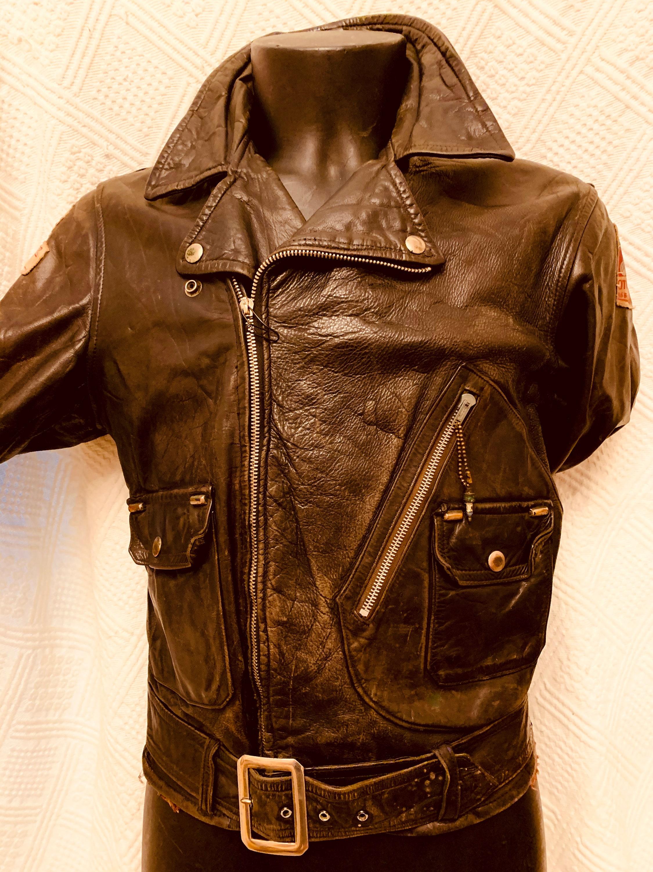 1950s Men's Ties, Bow Ties – Vintage, Skinny, Knit 1950s Mens Black Leather Biker Jacket By Score Sporting Goods To $357.51 AT vintagedancer.com