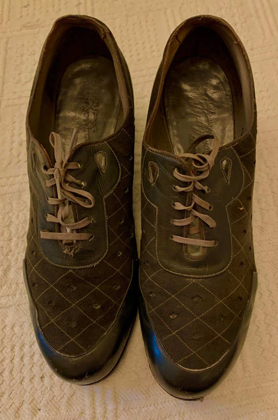 1940's Women's Grey Suede and Leather Lace up Shoe