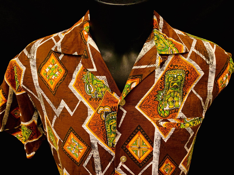 1950s Men's Ties, Bow Ties – Vintage, Skinny, Knit 1950s Mens Cotton Bronze  Gold Tiki Print Hawiian Shirt By Tropicana Of Honolulu $144.24 AT vintagedancer.com