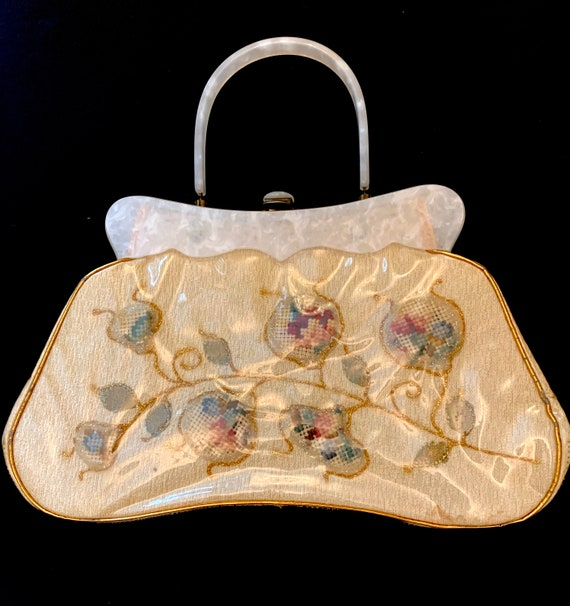 1950's Women's Plastic Coated Tapestry Bag with  W