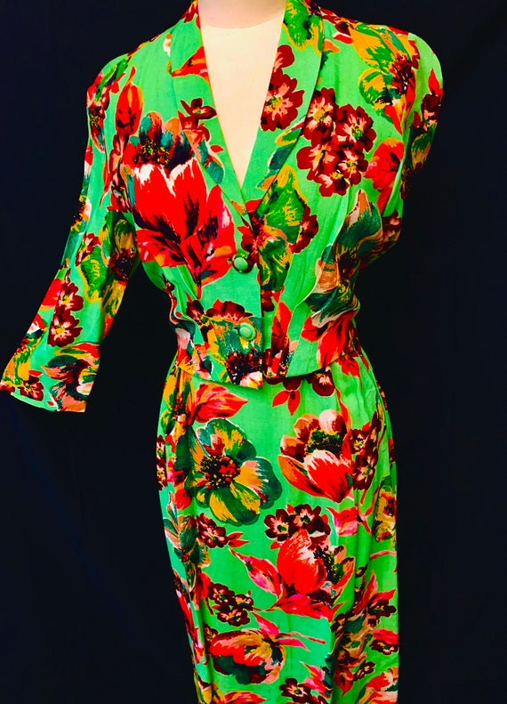 1940's Utility Double 11 Women's Floral  Moygashe… - image 2
