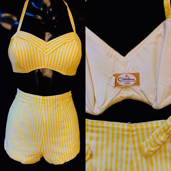 1950's Women's Yellow & White Catalina  Candy Stri