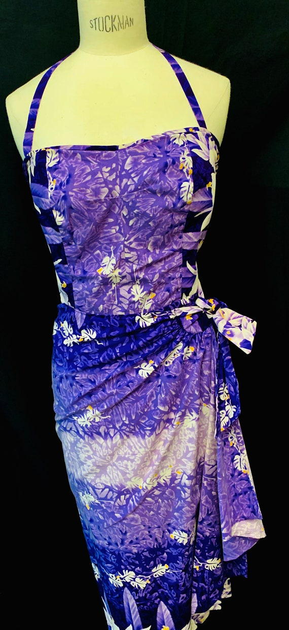 1950's Womens Kamehameha Purple/Lilac Sarong Dress