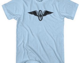 a6e048cfe42 Bicycle Wings T-shirt - Men and Unisex - XS S M L XL 2x 3x 4x - Cyclist  Gift Flying Wheel Shirt
