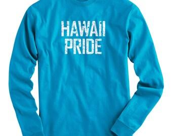 fbc5b30c LS Hawaii Pride Tee - Long Sleeve T-shirt - Men S M L XL 2x 3x 4x - Hawaiian  Shirt, Maui Shirt, Kauai Shirt, Honolulu Shirt, Molokai Shirt