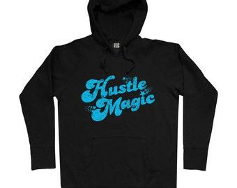 Hustle Magic Script Hoodie - Men S M L XL 2x - Retro Hoody Sweatshirt - 70s, Disco