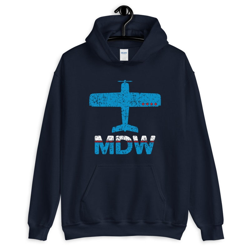 Vintage Plane Men S M L XL 2x Fly Chicago Midway MDW Airport Hoodie Her Chicago Hoodie Pilot Hoodie Aviation Hoodie Gift for Men