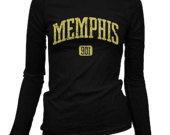 Women's Memphis 901 Long Sleeve Tee - S M L XL 2x - Ladies' Memphis T-shirt, Tennessee - 3 Colors