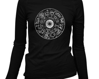 Women's Zodiac Long Sleeve Tee - S M L XL 2x - Ladies' Shirt, Astrology Gift, Astrology Shirt, Zodiac Signs, Zodiac Circle, Constellations