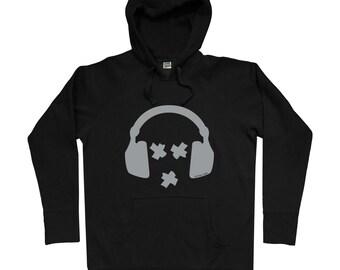 Syffal Headphones Hoodie - Men S M L XL 2x - Music Hoody Sweatshirt - Hip Hop, Rap, Metal, Rock n Roll, DJ