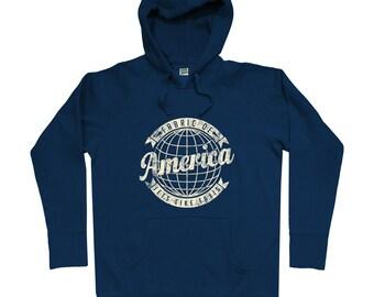 Voyager Hoodie - Men S M L XL 2x - Travel Hoody Sweatshirt - America, USA, Pride, United States