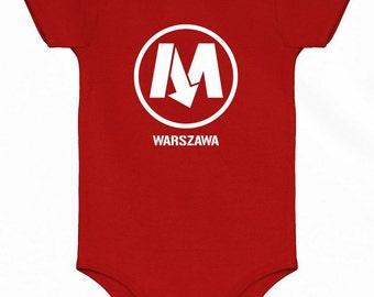 Baby Warsaw Metro One Piece - Poland Infant Romper - NB 6m 12m 18m 24m - Polish - Warszawa - Poland Baby - 3 Colors
