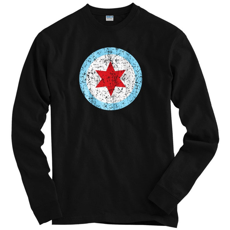 54847a9017 LS Chicago Insignia Tee - Long Sleeve T-shirt - Men S M L XL 2x 3x 4x -  Chicago Shirt, Windy City, Flag