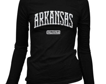 Women's Arkansas Represent Long Sleeve Tee - S M L XL 2x - Ladies' Arkansas T-shirt, Little Rock, Fayetteville - 2 Colors