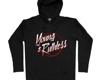 Young and Ruthless Logo Hoodie - Men S M L XL 2x - Skateboarding Hoody Sweatshirt - Metal, Hustle, Artist