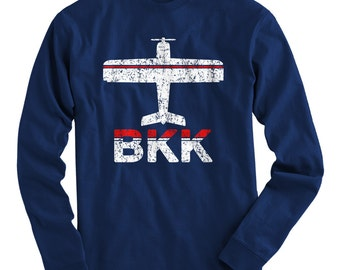 LS Fly Bangkok T-shirt - BKK Airport Long Sleeve Tee - Men and Kids - S M L XL 2x 3x 4x - Bangkok Thailand Shirt - 2 Colors