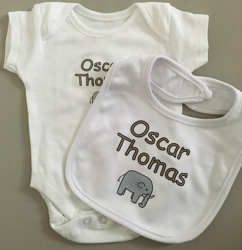 Great baby shower gift vest babygrow bib Elephant PERSONALISED baby sleepsuit new baby gift
