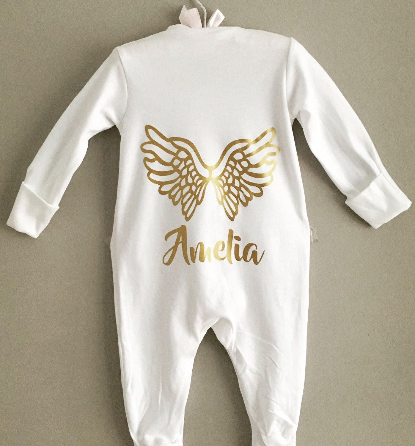 Personalised Gold Angel Print Baby Sleepsuit Babygrow Any