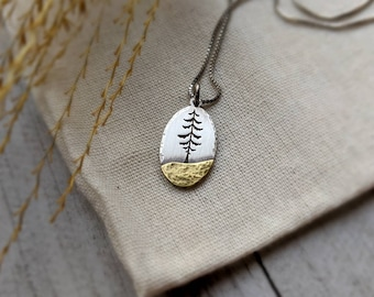 Silver Spruce - Mixed metal evergreen tree necklace