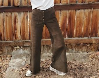 90s Vintage Brown Low Rise Faux Suede Flared Leg Pants Size 5